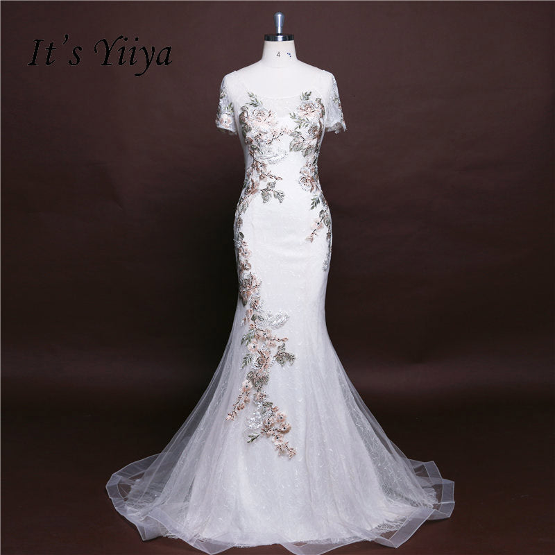 624335ff884f Hover to zoom · It's Yiiya Trumpet White Mermaid Zipper Floral Beading  Flower Evening Dresses ...