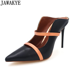 JAWAKYE High Heels Black leather Women Shoes Leather silk Mules Pointed Toe Slip-on pumps wine red Women Dress Party Shoes