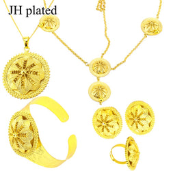 JHplated African Fashion Wedding Jewelry Gold Dubai Nigerian Women's Necklace Ring Bride Jewelry Sets