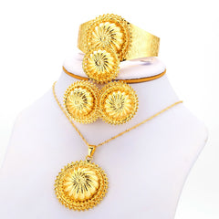 JHplated Jewelry set Ethiopian Bridal Wedding Gold Color for women African set/Nigeria/Sudan/Eritrea/Kenya Jewelry