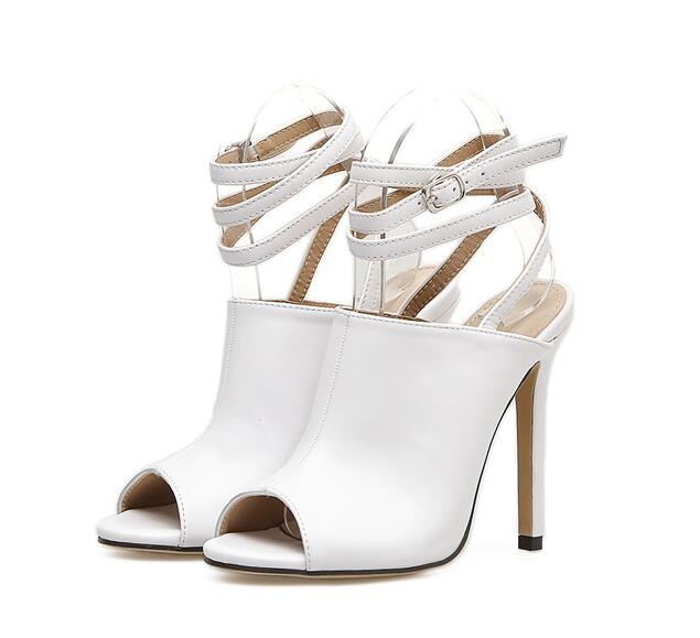 ... JINJOE 2018 Summer Women s shoes fashion Pure white sexy Open toe Rome  style Heel Ankle Strap 3770866a6cfb