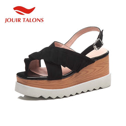 JOUIR TALONS New Sweet Ruffles Sandals Women Summer Kid Suede Peep Toe Platform High Heels Sandals Women Shoes Woman