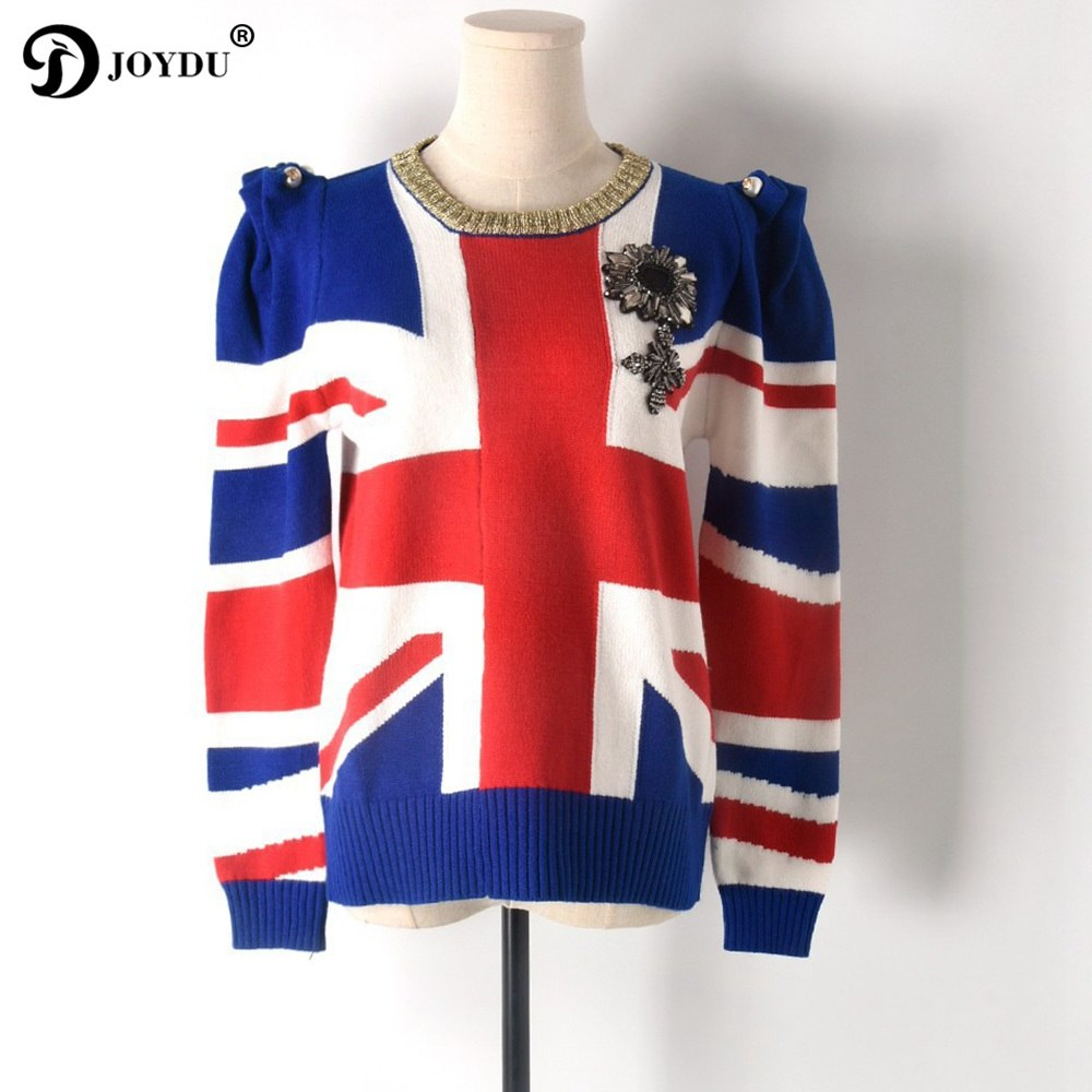 sports shoes 1163b d8093 JOYDU Runway Designer Pullover 2018 New Winter Sweater Women British Flag  Jacquard Jersey Casual Shrugged Badge Knit Jumper Tops