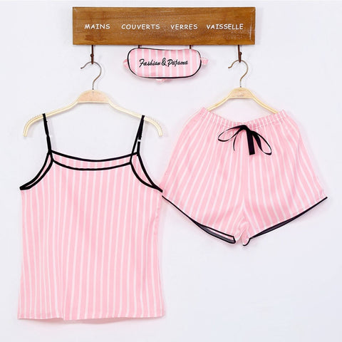 JRMISSLI Women pajamas set spring 7 pieces sets Striped cute korea style sleeping cloth light color turn down collar