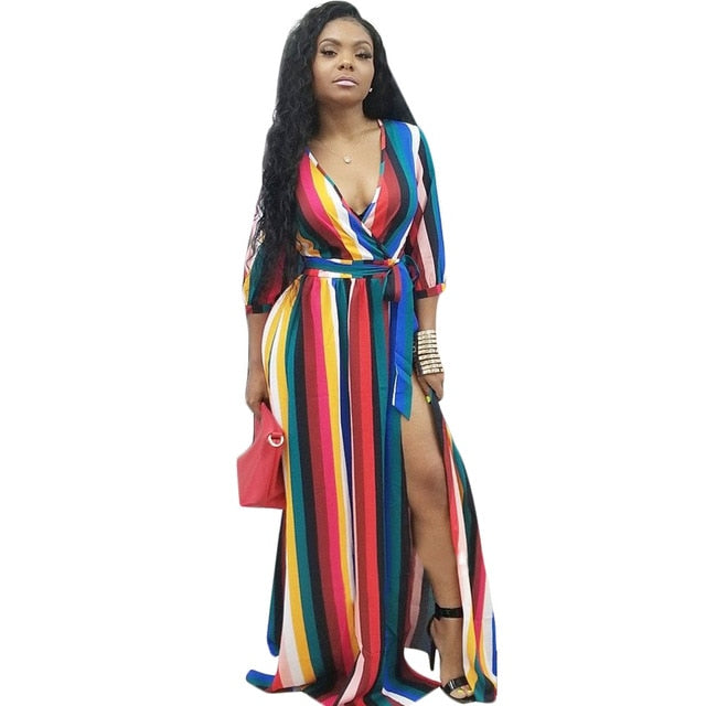7eddbd74d ... Striped Women Maxi Dresses Sashes Deep V Neck Colorful Long Dress for  Ladies. Hover to zoom