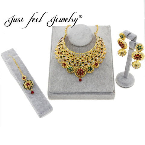 JUST FEEL Dubai Jewelry sets Multiple Circles Gold Color Necklace & Earrings Middle East Jewellery Egypt/Turkey/Iraq/Africa