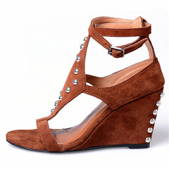 Jady Rose Brown Wedges Shoes for Women Rivets Studded Summer Gladiator Sandals Suede Platform High Heel Sandal Wedges
