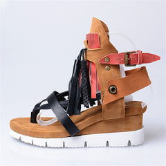 Jady Rose Fringed Female Sandals Beach Flip Flops Genuine Leather Summer Gladiator Sandal Platform Wedge Shoes Woman Wedges
