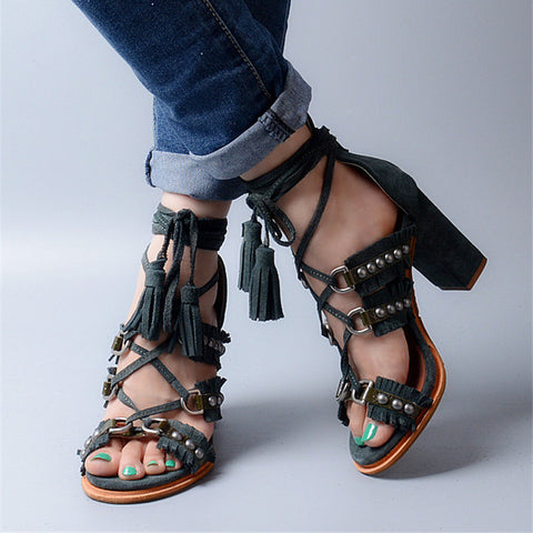 Jady Rose Sexy Suede Women Summer Sandals Fringed Chunky High Heel Shoes Woman Lace Up Rivets Gladiator Sandal Women Pumps