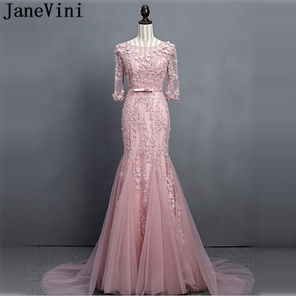 JaneVini Luxury Beaded Flowers Half Sleeve Bridesmaid Dresses Long Mermaid  Women Wedding Party Dress for Prom ... f99d55141f28