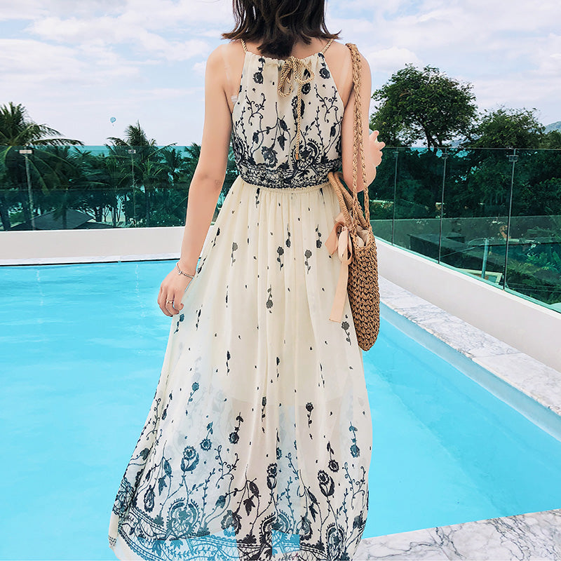 5b4c4db77cc Japanese Women s Maxi Dresses Summer Floral Bohemian Suspenders Chiffon  Dress Flowy Beach Party Strap Boho Long. Hover to zoom