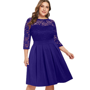 d44a93f0f84cd Joineles Women Round Neck 3/4 Sleeve Party Dress Plus Size 5XL Lace Panel  Spring ...