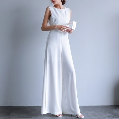 ... Jumpsuit For Women Round Neck Sleeveless overalls Summer 2018 Office  Lady Female Elegant Long Wide Leg 6b91b601d994