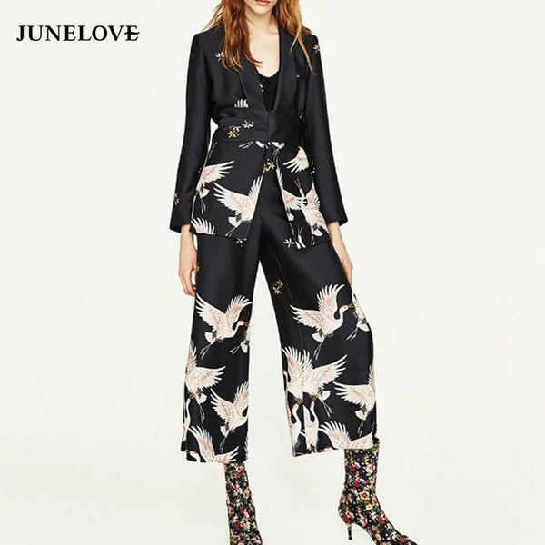 JuneLove 2018 casual women spring summer birds print kimono style long sleeve crane coat set wide leg pants