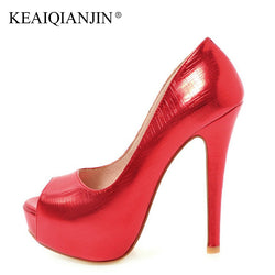KEAIQIANJIN Woman 16 CM High Shoes Plus Size 33 - 48 Patent Leather Red Wedding Pumps Spring Autumn Pink Golden Silver Pumps
