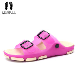 KESMALL Lovers Beach Shoes Summer Casual Slippers Candy Colour Women Outdoor Soft Shoes Bathroom Anti-Slip Home Slippers WS536