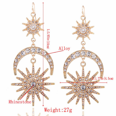 KMVEXO Big Luxury Sun Moon Stars Drop Earrings Rhinestone Punk Earrings for Women Jewelry Golden Boho Vintage Statement Earrings