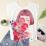KaiTingu Women's T shirt Top Harajuku Kawaii Female T-shirt Cat Dog Print Short Sleeve Women Clothes For Spring Summer