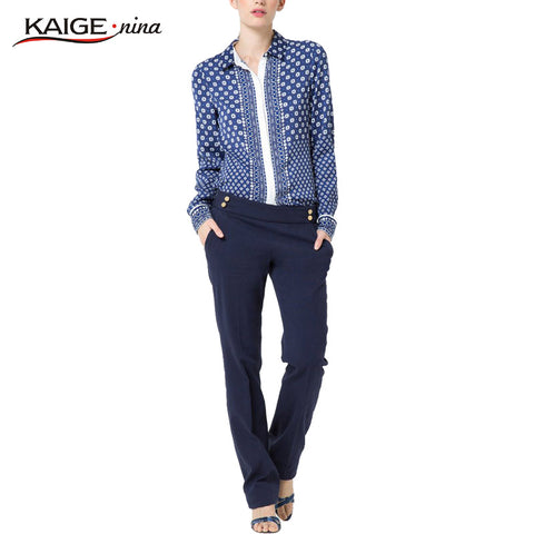 KaigeNina New Fashion Hot Sale Women Collar Fashion Casual Shirt Printing Decorative buttons Chiffon Long sleeve T-shirt1123