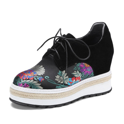 Karinluna 2018 Spring Autumn Genuine Leather Flat Platform Shoes Woman Big Size 34-42 lace-up Embroider Increase Internal Shoe