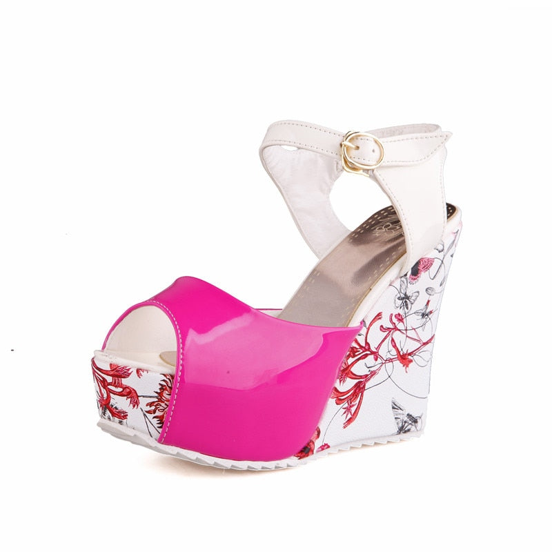 fff2a23fa41 Hover to zoom · Karinluna Women s Flower Printed High Heel Wedge Summer  Shoes Woman 2018 Ankle Strap Open Toe Platform