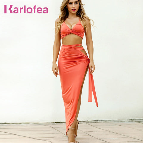 cc5ffa7afb Karlofea Spring Summer Lady Fashion Maxi Dress Pure Red Side Split Knot  Women Two Piece Outfits Two Piece Sexy Clubnight Dress
