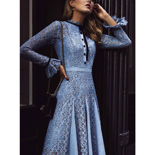 High Quality Runway Summer Women Party Office Hollow Out Vintage Long Sleeved Dress