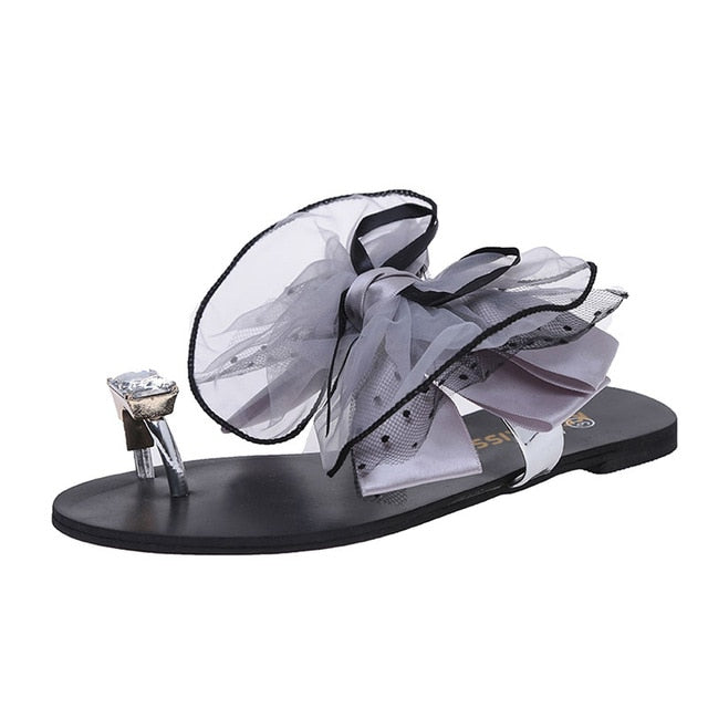 b1ee13356 ... Bowtie Flip Flop Slipper Flat Sandal Summer Shoe Women Party Beach  Vacation. Hover to zoom