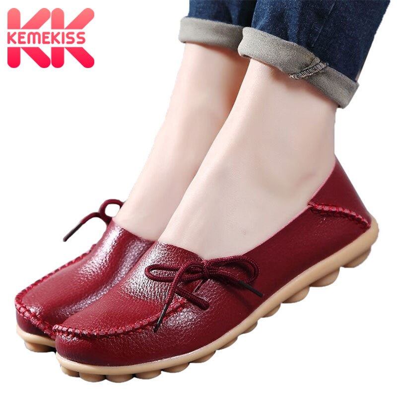 f439cbf05 Hover to zoom · KemeKiss Women Flats 24 Color Summer Women Slipony Genuine  Leather shoes Slip On Ballet Bowtie Moccasins