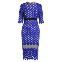 Kenancy 3XL Plus Size Hollow Out Blue Lace Dress Striped Special High Neck Vestidos Women Three Quarter Knee-Length Dress
