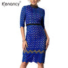 Image of Kenancy 3XL Plus Size Hollow Out Blue Lace Dress Striped Special High Neck Vestidos Women Three Quarter Knee-Length Dress