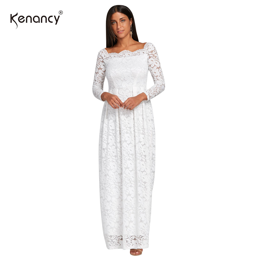 bd75ec2fe6603 Kenancy 3XL Plus Size Sexy Off Shoulder Floral White Lace Dress Evening  Party Ankle Length Long Sleeves Fit Flare Dress