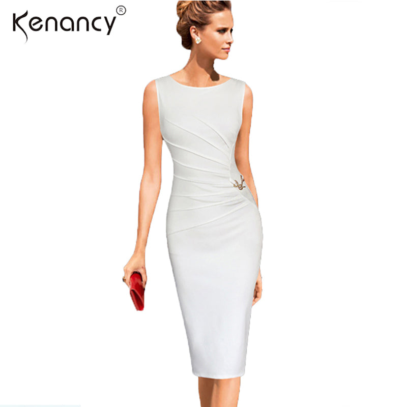 445f5b136cb Kenancy 4XL Plus Size Elegant Ruched Metal-Trim Pencil Dress Women Party    Work Solid. Hover to zoom