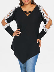 Kenancy 5XL Plus Size Lace Lattice Long Sleeve Top