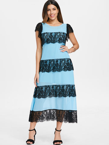 Kenancy Lace Panel Chiffon Midi Dress with Cami Dress