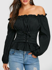 Kenancy Off The Shoulder Lace Up Smocked Blouse