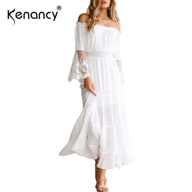 2d5f8ae29c Kenancy Vintage Off Shoulder Lace inlay Chiffon Dress Womens Horn Long  Sleeve High Waist White Lace. Hover to zoom