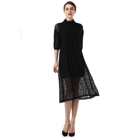 Kenancy Women Sexy Hollow Out Lace Dress Half Sleeves Standing Collar A Line Loose Hem Party Work Dress Autumn Winter New