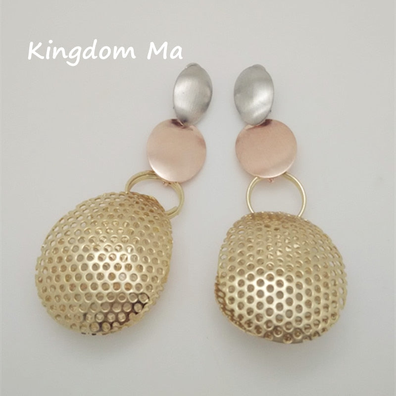 49968752f053c6 Kingdom Ma Long Dangle Gold Color Earrings Jewelry Trendy Simple ...