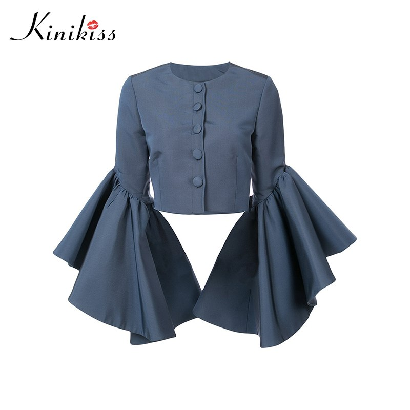 d755492ea5d Kinikiss Women Blue Elegant Tops Shirts Big Flare Sleeve Button ...