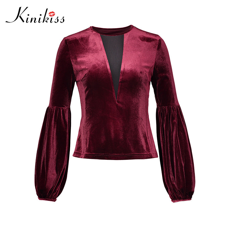 latest fashion fashionable and attractive package men/man Kinikiss Women Burgundy Sexy Velvet Tops Shirts Puff Sleeve Mesh Hollow Out  Modern Pullover Ladies Fashion Slim Blouses Tops