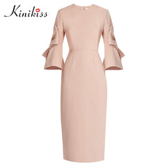 8f06f49e3d0e Kinikiss women autumn bodycon dress 2018 women sexy spring pink flare  sleeve zipper party dress elegant ...