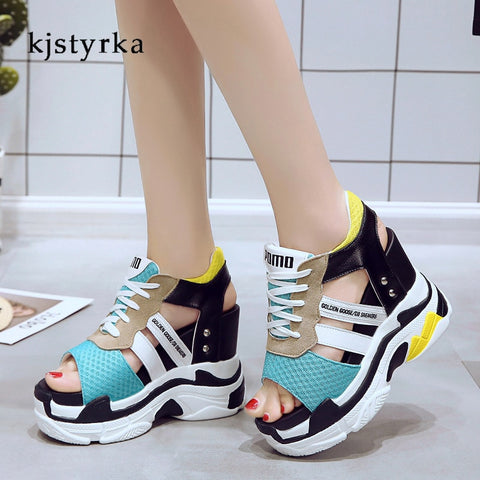 Kjstyrka 2018 Summer New Fashion Platform Sandals Thick Bottom Casual Women Wedges Gladiator Shoes Comfortable