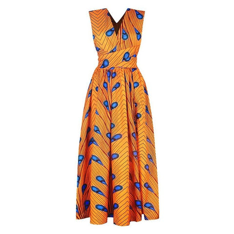 African Polyester  Dress for Women Dashiki Nation Print Sexy Summer Vestidos Fashion Sundress Sexy Night Club DIY Strap