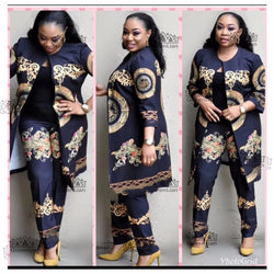 (L-4XL)New African Print Elastic Bazin Baggy Pants Rock Style Dashiki SLeeve Famous Suit For Lady/women coat and leggings(CPTZ01