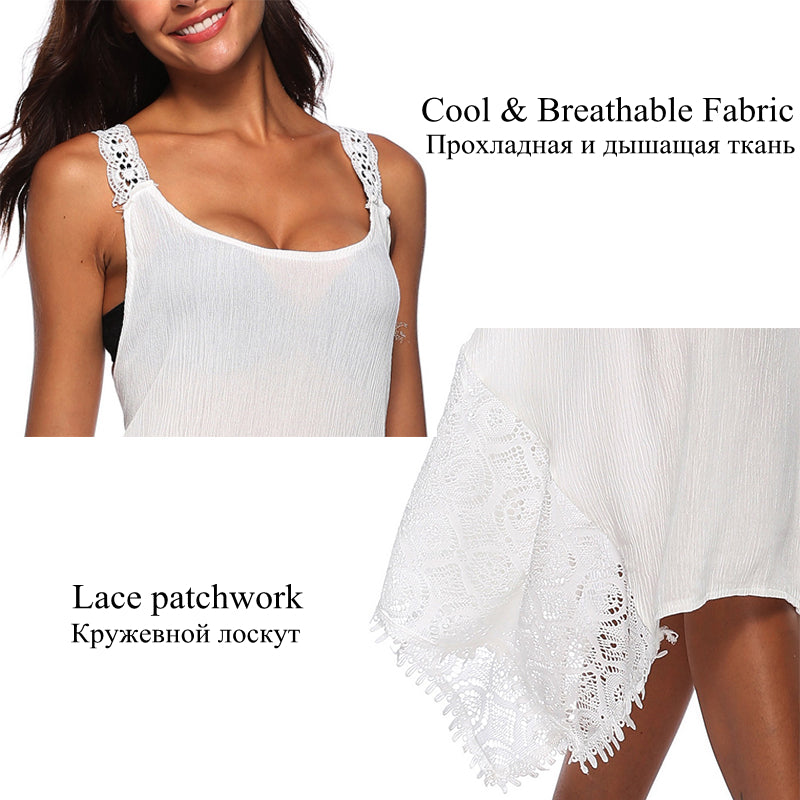 504bd7d79547 Hover to zoom · LAAMEI Sexy Backless Dress Women Club Party Sundress White  Lace ...