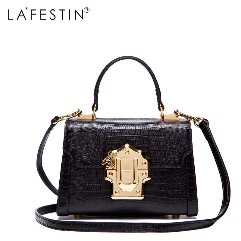 LAFESTIN Designer Serpentine Lock Handbag Real Leather Bag 2017 Fashion Women  Bags Shoulder Luxury brands Bag ... 13977a6bab96