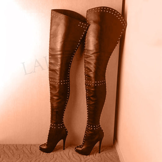 LAIGZEM SUPER Women Thigh High Boots Side Zip Stiletto Heels Platform Party Boots Rivets Over Knee Shoes Botine Large Size 50 52
