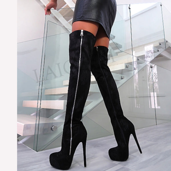 LAIGZEM Women Faux Suede Black Over the Knee Boots Stilettos Side Zip Party Shoes Woman Botines Mujer Botas Big Size 17 18 19