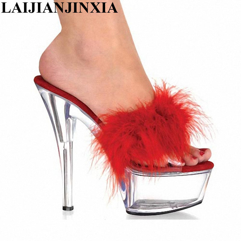 8b4db99b5cf LAIJIANJINXIA 6 Inch Red PU Leather Sexy Slippers Classic Crystal Shoes  Lady Fashion Summer Stripper 15cm High-Heeled Shoes